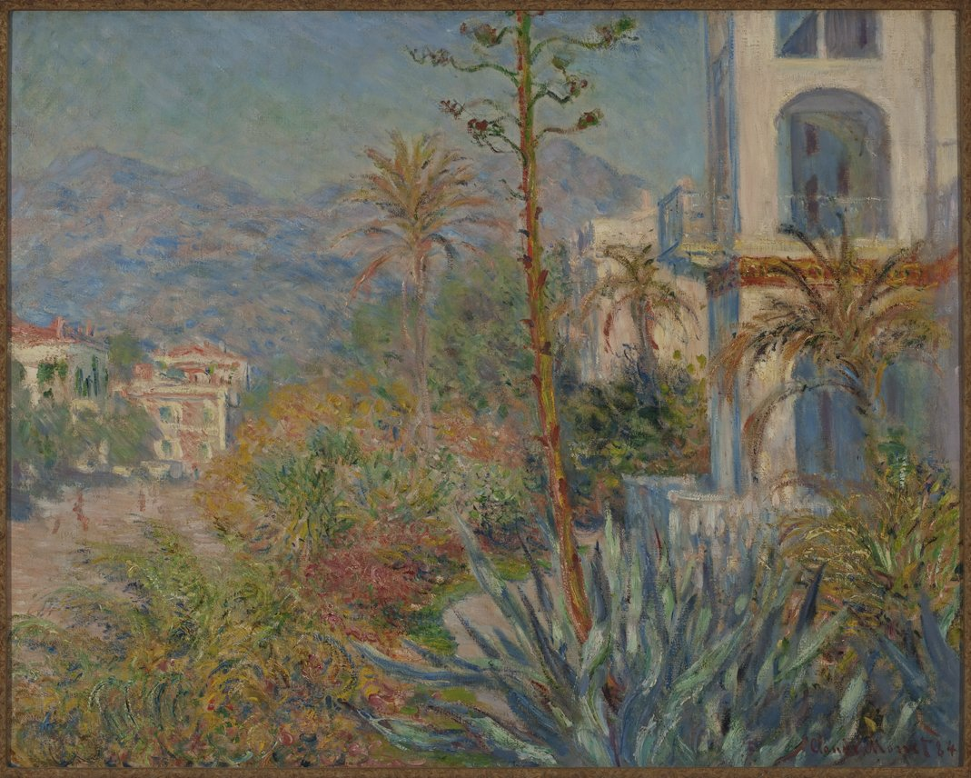 Claude Monet, Villas in Bordighera, 1884. Oil on canvas. SBMA, Bequest of Katharine Dexter McCormick in memory of her husband, Stanley McCormick.