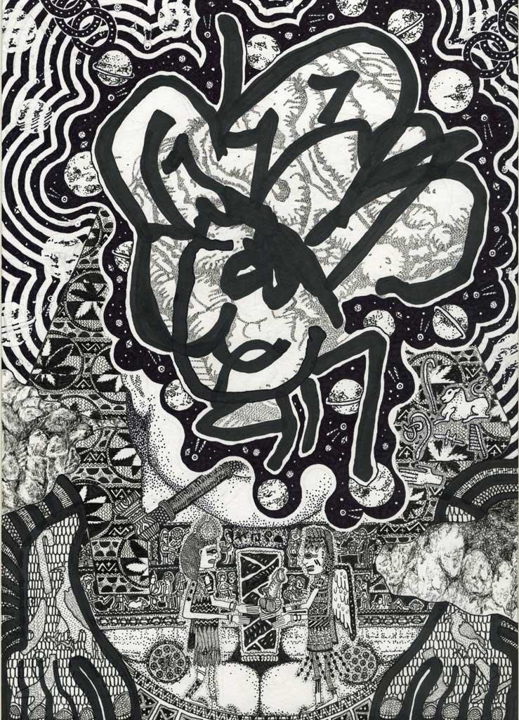 Oliver Braid, LRMNTS(C), 2013, ink on paper, 42x30cm