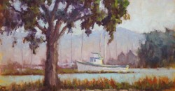 Crab Cove Fishing Boat by Mark Monsarrat, oil on canvas