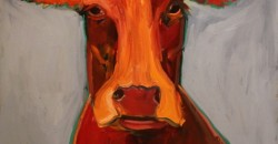"""""""Red Cow"""", Artist:Laurie Shelton, 40"""" X 36"""" Oil painting"""