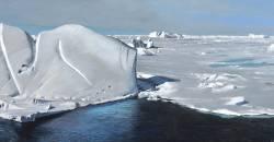 Richard Estes, Antarctica IV, 2013, oil on board, 16 x 34 3/4 in.