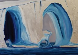 "Diane Langlois. Triple Tunnel Iceberg. Acrylic and Oil on Canvas. 36""x36""x2"""