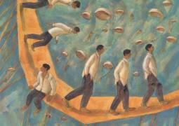 Luz Letts,El Arribo (The Arribal),Acrylic on Canvas,16''x 16''