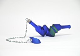 June Diamond, Untitled Blue and Green with Chain, Glass, metal
