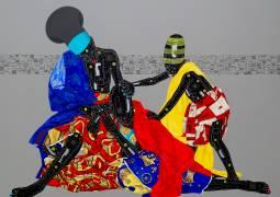 Eddy Kamuanga Ilunga, 'Oubliez le passe et vous perdez les deux yeux', 2016. Acrylic and oil on canvas, 220 x 200 cm. Image the artist, courtesy of October Gallery.