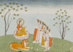 Himachal Pradesh, The Gods Appeal to the Great Devi for Help (detail), Folio from a Devi Mahatmya series with Sanskrit text in Devanagari script on reverse, India, Kangra, early 19th century. Color and gold on paper. Lent by Narendra and Rita Parson.