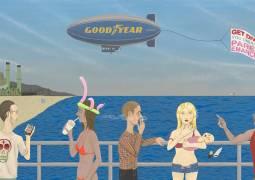Ed Templeton, Huntington beach Pier #2 (Get Divorced), 2015, acrylic on panel, 48 x 96 inches