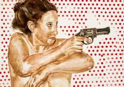 "Rosemary Meza-DesPlas, I Look Like a Woman, I Cut Like a Buffalo, Watercolor, 10""' x 8"""