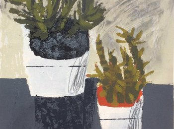 Cactus Pots, Acrylic on Board by Rosemary Vanns