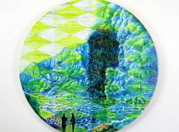 David Price, Articles of Likely Phenomena 4, oil on beech ply panel, diameter 40cm