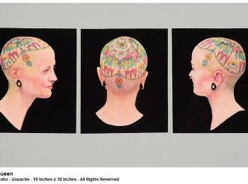 Kathy Tiger - Tattoo Series - Queen - Watercolor - Gouache - 19 Inches x 38 Inches - All Rights Reserved - Las Laguna Gallery
