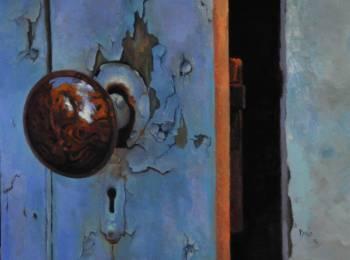Dino Rinaldi, Doorknob, Oil on Clayboard, 11''x 14''