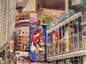 Duane Anderson, Hershey's NYC, Watercolor on Paper, 19'x 25.5'