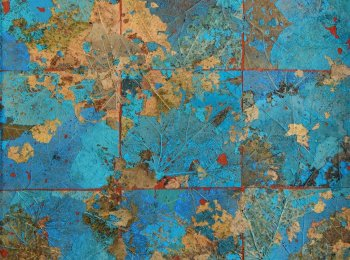 Sylvie Michault, Ils Ont Semé Des Nuages(They Have Sown Clouds), Mixed Media on Wood, 16''x 16''