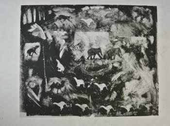 """""""Circus Wheel"""", Artist, John Reily, mono-type, 14"""" X 18"""""""