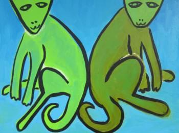 """Friends"" Artist Charlotte Coqui, Oil, 22"" X 22"""
