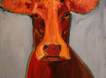 """Red Cow"", Artist:Laurie Shelton, 40"" X 36"" Oil painting"