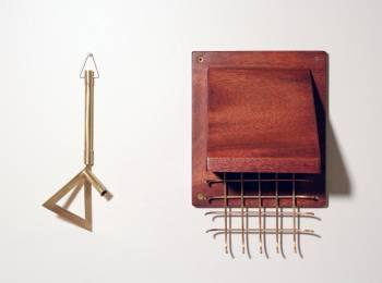 "Rafael E. Vera, Mutual Dealings (detail), Mahogany, Brass, Standard Moving Blanket, 24 x 24"", 2015 (in collaboration with Rachel Fenker-Vera)"