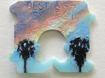 Elizabeth Saveri, Twentynine Palms #3 (detail), 2016, water-based oil on bread tag, 2.5x2.5cm