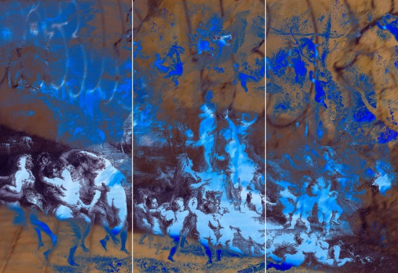 Variation #5, Triptych, mixed media on acrylic glass, mounted on dibond