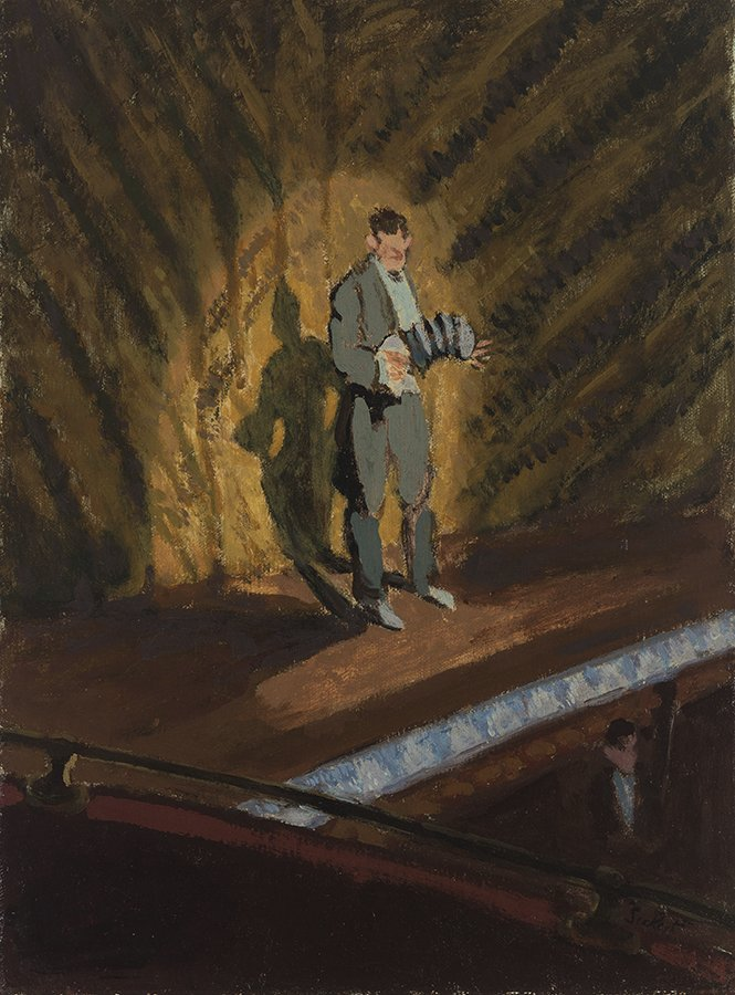 """Walter Richard Sickert, """"Percy Honri at the Oxford,"""" ca. 1920. Oil on canvas. Santa Barbara Museum of Art, Gift of Mary and Will Richeson, Jr."""