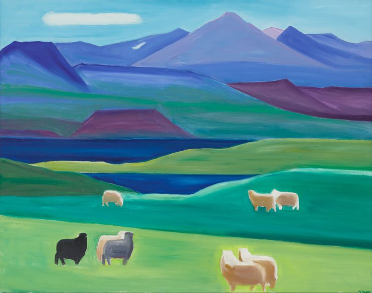 Louisa Matthíasdóttir, Mountain and Sheep, 1989, oil on canvas, 52 x 66 inches
