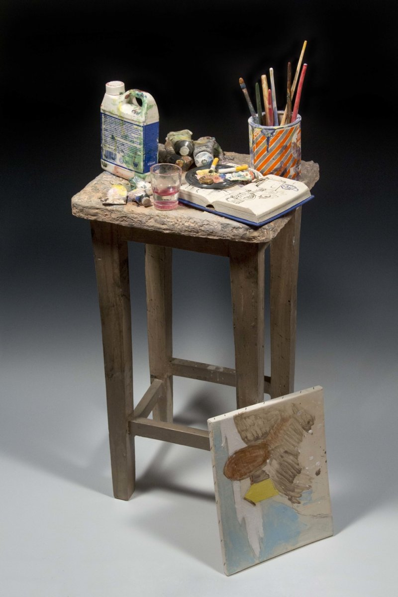 """Richard Shaw  Painter's Table with Unfinished Painting, 37"""" x 20"""" x 15"""", glaze porcelain with overglaze decals"""